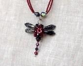 Burgundy bead dragonfly pendant #giftforher #mothersdaygift #giftforher