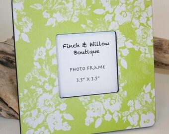 Lime green picture frame, Citrus photo frame, Lime decor, Shabby chic decor