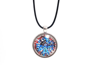 Art Pendant   Art Jewelry  Abstract  Art Necklace   Glass Medallion  handmade by Evartstudio