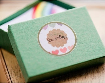 Buttonsy Box of Happy - A Year-Long Happiness Project - Choose Joy , Gratitude , Empathy , Depression Aid