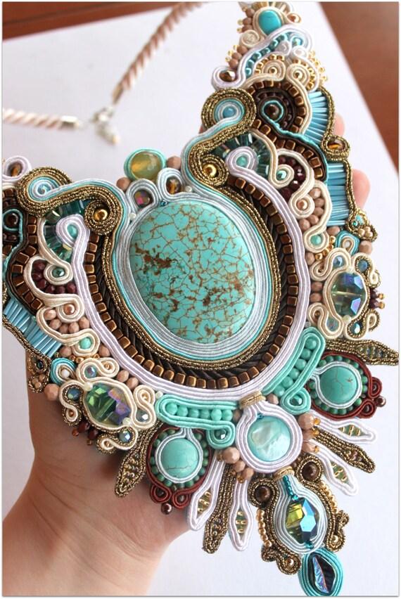 BIG statement necklace made of soutache, HANDICRAFT
