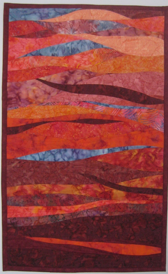 Art Quilt Rose Colored, Quilted Wall Hanging