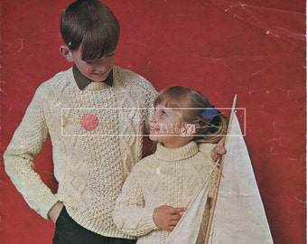 "Child's Aran Cable Sweater Aran 24-32"" Robin 1824 Knitting Pattern PDF instant download"