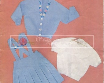 Girl's Three Piece Suit 4-ply 2-4 years Knitting Pattern PDF instant download