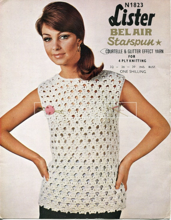 """Lady's Evening Blouse 4ply 33-39"""" Lister N1823 Crochet Pattern PDF instant download"""