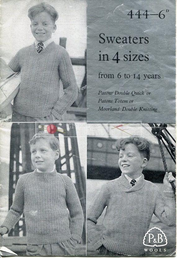 Boy's Sweaters  DK 6-14 years Patons & Baldwins 444 Vintage Knitting Pattern PDF instant download