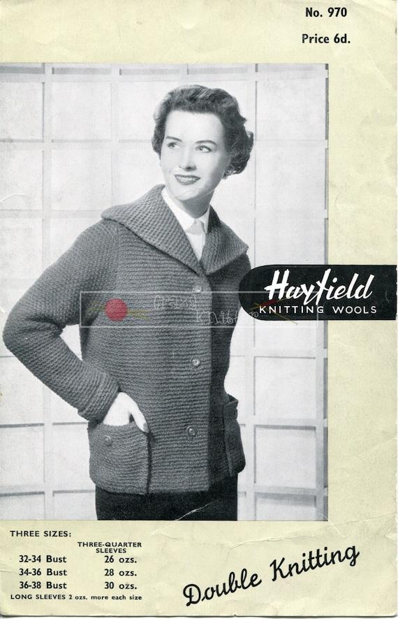 Lady's Jacket DK 32-38in Hayfield 970 Vintage Knitting Pattern PDF instant download