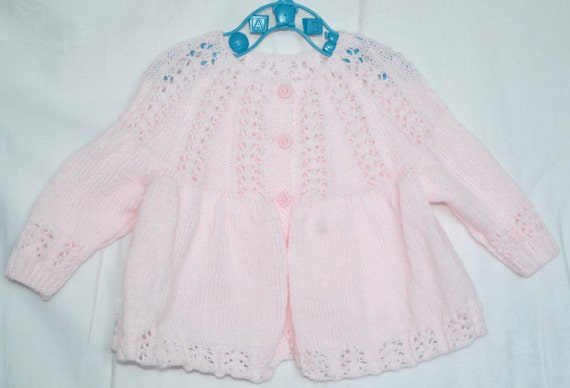 Hand Knitted Baby Girl's Matinee Coat Pale Pink 3 ply Acrylic Yarn 1 - 6 months