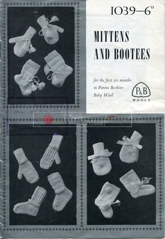 Baby Mittens and Bootees 4-ply 0-6 months Patons 1039 Vintage Knitting Pattern PDF instant download
