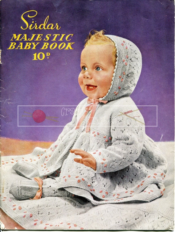 "Sirdar Majestic Baby Book 18-22"" 3-ply 4-ply Vintage Knitting Pattern PDF instant download"