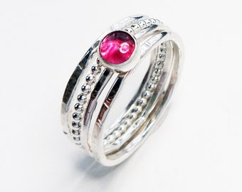 Pink tourmaline and sterling silver stacking ring set