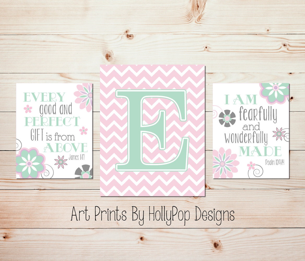 Christian Wall Decor For Nursery : Nursery print set girl wall decor pink art christian