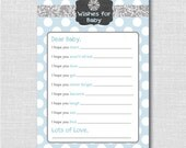 Boy Winter Snowflake Wish for Baby - Printable Winter Baby Shower or First Birthday Wish Card - Winter Onederland Theme - INSTANT DOWNLOAD