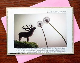 Funny Greeting Card: Deer Dandelion