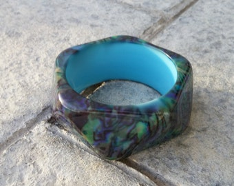 On Sale Costume Jewelry Marbled Style Black and Green Octagon Large Bangle Bracelet