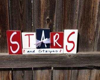4th of July wood blocks-Stars & Stripes USA