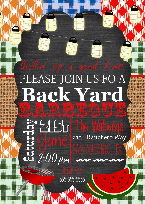 Backyard BBQ Invitation, Printable invite, Barbeque invite, Picnic ...