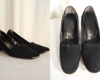 Vintage 1940s Heels - 40s Black Suede Kitten Heels,  1940s Shoes Size 5 5.5