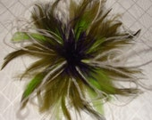 Handmade olive green lime green, purple black, ivory white ostrich feather fascinator hair clip accessory Bridal Derby hat