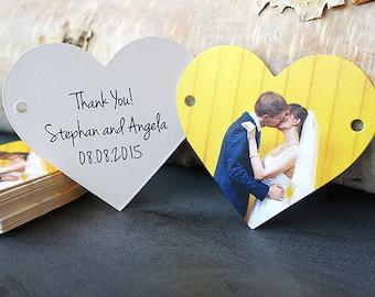 Wedding Favor Thank You Tag, Set of 25, Heart Shape, Die Cut