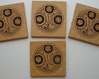 Dr Who Timelord cork coaster set of 4