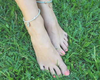 Georgi - QTY 2 silver leather anklet