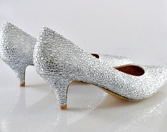 Swarovski Crystal Glitter Silver Custom Bridal Low kitten Heel Wide Fit Half size pointed Stiletto Luxury White Leather Pump
