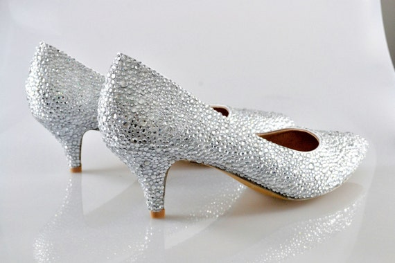 Swarovski Crystal Glitter Silver Custom Bridal Low kitten Heel