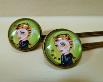 """2 """"Tigra"""" Hairpins metal and glass cabochons"""