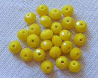 24  Lemon Yellow Opaque Facected Rondelle Crystal Beads   8mm x 6mm