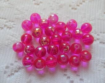 27  Hot Pink Fushcia Magenta Transparent AB Luster Round Glass Beads  8mm