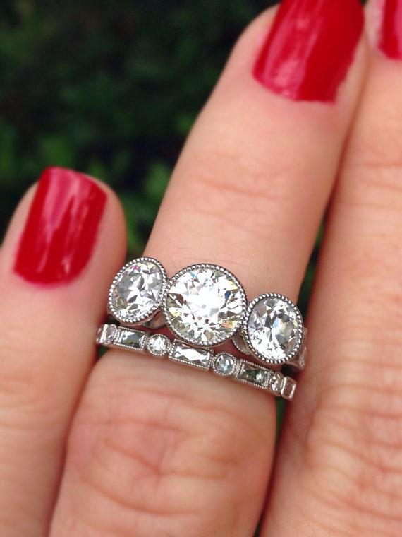 Cvb Bezel French Cut Side Diamond Custom Three Stone Ring