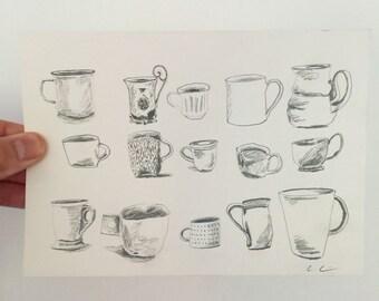 Tea Cups - Original Drawing