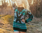 vintage southwestern native american style print sweater // turquoise blue boho bohemian tribal geometric long womens top // vtg 90s clothes