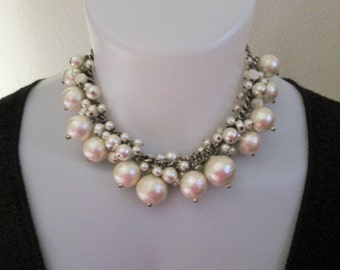 Vintage Big Pearl Silver-tone Chunky Chain Necklace/ Choker