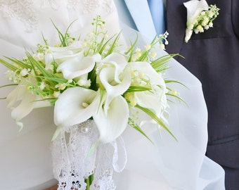 real touch calla artificial flower bouquet white green lily of the vally