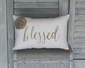 Blessed Decorative Pillow, Blessed, Decor Pillow, Simple Pillow, Rosette