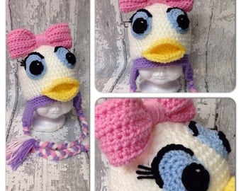 "MADE TO ORDER, Crochet ""Cute as a Daisy"" Duck hat , sizes newborn to Lg. Adult,"