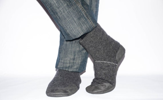 Men Slipper Socks, Men Cashmere Winter Boots from Reclaimed Cashmere and Suede Leather.  Men size 11 & 12