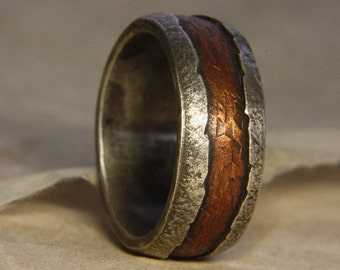 Rustic Mans Ring Of Sterling Silver And Copper Engagement