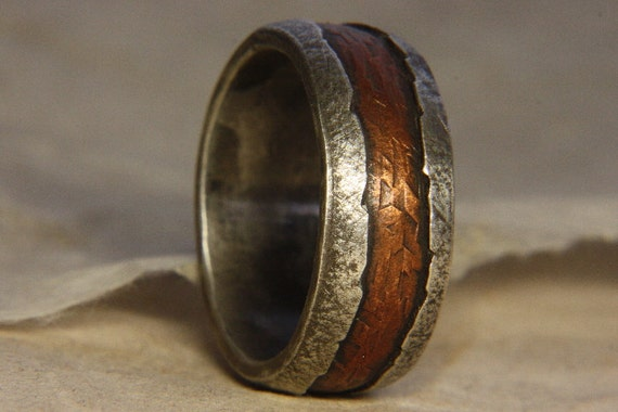 Rustic Man S Ring Of Sterling Silver And Copper Man S