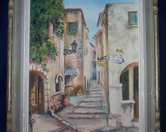 "An original framed oil on canvas painting, signed ""Mauricette Eude""."