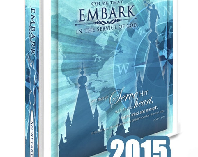 Printable LDS Temple Art with YW Young Women 2015 Mutual Theme Embark In The Service of God. Turquoise DIY Binder cover and Spine Inserts.