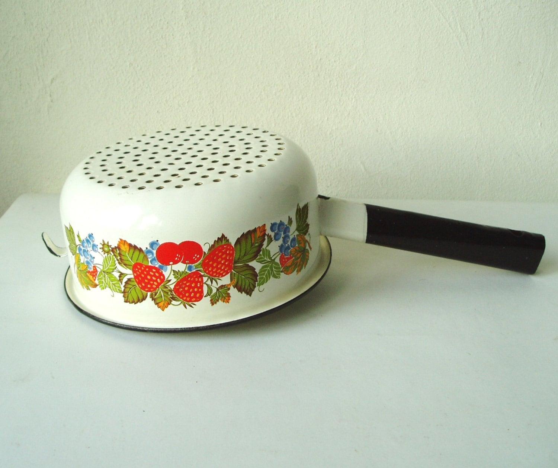 Enamel Kitchen Accessories: Enamel Colander Strawberry Decor Vintage Cooking Dish
