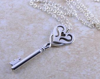 Key necklace, Sterling silver key pendant, Large key necklace, Long necklace