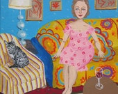 """Artist and Cat- Colorful, whimsical cat lady painting. Tabby cat. 8"""" x 10"""" gallery wrap canvas"""