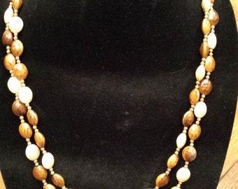"Vintage Tri Color 54"" Necklace"