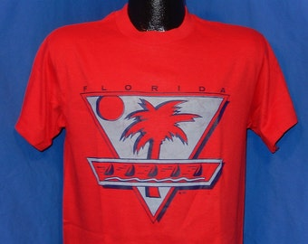 80s Florida Palm Trees & Sail Boats Red Vintage t-shirt Medium
