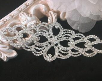 Authentic Rhinestone Applique ~ Crystal Applique ~ Bridal Applique, Wedding Applique, Sash Applique, Headband Jewelry, DIY Wedding, RA-014