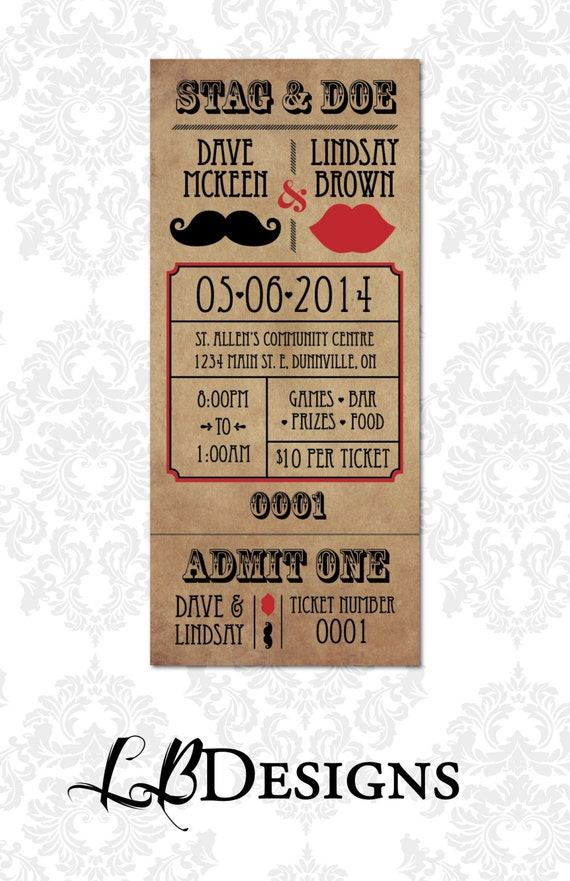 Stag and doe tickets vintage mustache and by for Jack and jill ticket templates